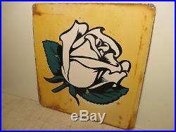 17x18 authentic org. 1940 white rose porcelain double sided sign oil and gas adv