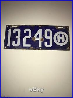 1909 Vintage Original OHIO License Plate MAKE OFFER PORCELAIN gas oil sign RARE