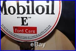 1920-30s MOBILOIL GARGOYLE E for FORD CARS Double Sided Porcelain Lubester Sign