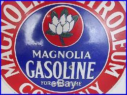 1920's Original Double Sided Porcelain Magnolia Petroleum Gasoline Sign Vintage