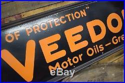 1920's Original VEEDOL Motor Oil Porcelain Advertising Sign Gas Station RARE WOW