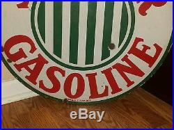 1920's SINCLAIR GASOLINE PORCELAIN DOUBLE SIDED 24 ADVERTISING SIGN NO RESERVE