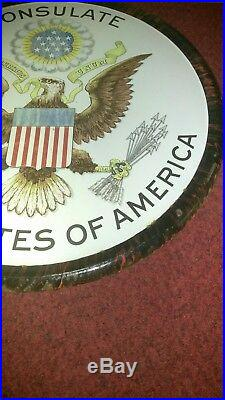 1920s Consulate United States Of America Porcelain Enamel Advertising Sign Rare
