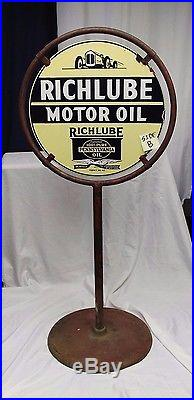 1920s Original Richlube Motor Oil Double Sided Advertising Porcelain Curb Sign