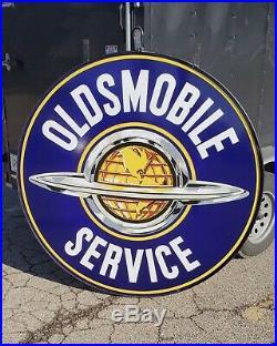 1930-50s Original Oldsmobile Service Porcelain Dealership Sign DSP 60in withring