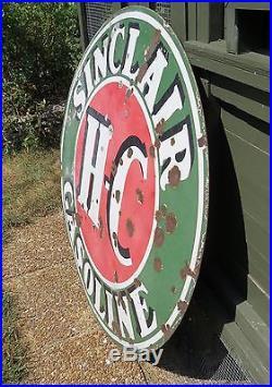 1930 Sinclair Hc Gasoline Porcelain Large Round Sign 48