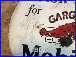 1930 Vintage Old Gargoyle Mobiloils Double Sided Porcelain Lollipop Sign Gas Oil