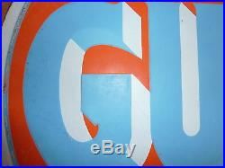 1930's 1940's Vintage Gulf Porcelain Sign Gas Station Used 20 inch dia