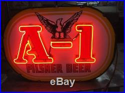 1930's Double Sided Porcelain & Neon A-1 Pilsner Beer Sign