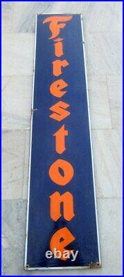 1930's Original 72'' Firestone Tyre Oil Gas Station Enamel Porcelain Sign Board