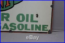 1930's PIERCE PENNANT MOTOR OIL GAS PORCELAIN SIGN GENERAL STORE OIL