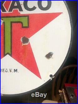 1930s 15 TEXACO SIGN PUMP PLATE LUBESTER Porcelain