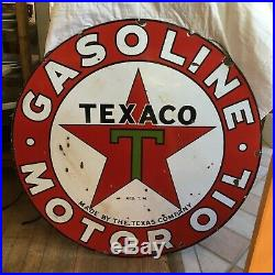 1930s Double Sided 42 Enameled Porcelain Texaco Sign Exc. Cond. For Age