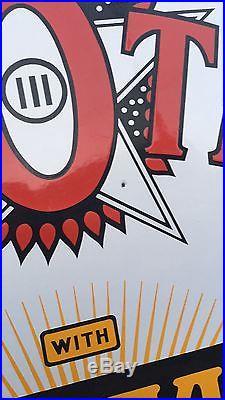 1930s Kanotex Ethyl Gasoline Porcelain Sign Double sided 42 Round Original Nice