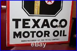 1930s Original TEXACO Motor Oil Golden DS Porcelain Advertising Flange Sign