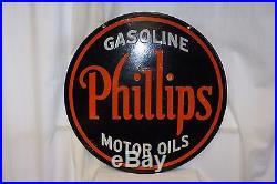 1930s Phillips Gasoline Double Sided Vintage Advertising Porcelain Sign