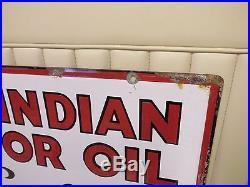 1930s RED INDIAN MOTOR OIL Double-Sided Porcelain Dealer Sign