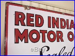 1930s RED INDIAN MOTOR OIL Double-Sided Porcelain Dealer Sign- GREAT ORIGINAL