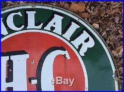 1930s SINCLAIR HC GASOLINE PORCELAIN LARGE ROUND SIGN 48 w bezel Estate Find