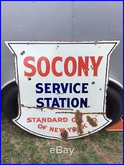1930s Standard Oil Company SOCONY Service Station Porcelain Sign Gas & Oil
