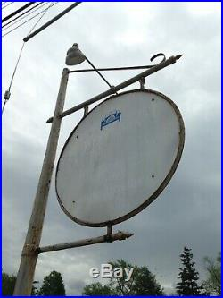 1931 Pure Gas Oil 6 Ft, Porcelain 2 SIDED SIGN With LIGHTS & ORGINAL 18Ft. Pole