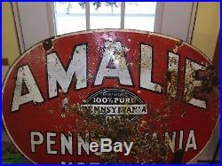 1933 Amalie Pennsylvania Motor Oil Porcelain Rare Sign