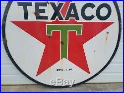 1939 Texaco Double Sided Porcelain 72 Gas Station Filling Station Dealer Sign