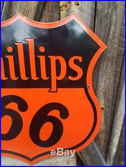 1940 30in. Phillips 66 Sign. Double sided. Porcelain. Near Mint! Clean