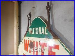 1940'S WHITE ROSE NATIONAL DEALER PORCELAIN 2 SIDED SIGN With ORIGINAL BRACKETS