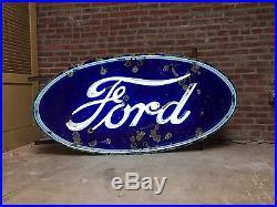 1940's Ford Porcelain Dealership Neon Sign Original, Vintage, Authentic