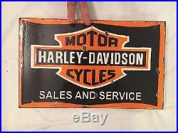 1940's Harley Davidson Motorcycle Vintage Porcelain 2 Sided Flange Enamel Sign