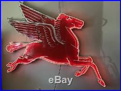 1940's Large MOBIL Oil Porcelain Pegasus Animated Neon Sign Watch Video