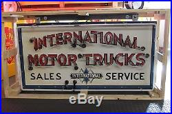 1940's Original International Motor Trucks Sales Service Single Porcelain Neon