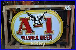 1940's Original Pilsner Beer A-1 Double sided Porcelain Sign Phoenix Neon