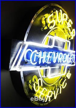 1940's Original Super Service CHEVROLET Porcelain Neon Dealership Sign (Video)
