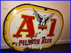 1940's PORCELAIN A1 PILSNER BEER SIGN A-1 PHOENIX NEON BAR TAVERN 38 X 26 1 SIDE