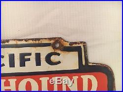 1940's Pacific Greyhound Lines Depot Vintage Porcelain Enamel Sign