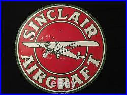 1940's Vintage Porcelain Sinclair Aircraft 2 Sided Enamel Sign