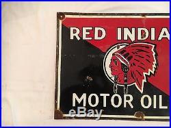 1940's Vintage Red Indian Motor Oils Porcelain Enamel Sign