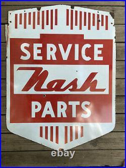1940s Nash Parts & Service Double Sided Porcelain Sign Original