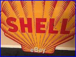 1948-55 Original Scarce Antique Shell Tiger Stripe 4' Porcelain Gas & Oil Sign