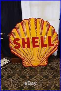 1948-55 Original Shell Tiger Striped Double Sided Porcelain Advertising Sign