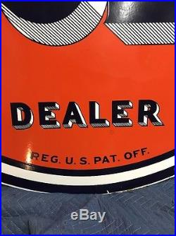 1948 Porcelain Gulf Dealer Sign 66in Petroliana Man Cave Shaded