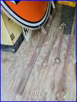 1950 66 Gulf Gas Oil Sign Bracket Pole Ring Station Dealer Light Porcelain