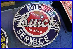 1950'S Authorized BUICK VALVE IN HEAD Porcelain Neon Dealer Sign Walker & co