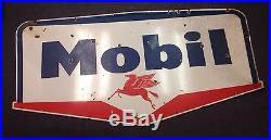 1950's 1960's Double Sided Vintage Pegasus Mobil Porcelain Sign