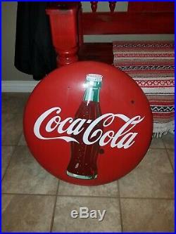 1950's Coca Cola Porcelain Button Sign Soda Pop Bottle Button Gas Oil 24 Inch