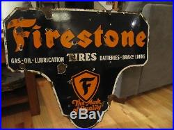 1950s Firestone Tire Double Sided Porcelain Sign
