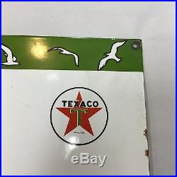 1957 Texaco Marine Lubricants Sign Porcelain On Steel Very Good Condition RARE