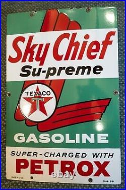 1959 Texaco Sky Chief Supreme With Petrox Porcelain Metal Gas Pump Plate